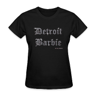 Women's T-Shirts ~ Women's T-Shirt ~ DETROIT BARBIE SILVER AND BLACK