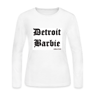 Long Sleeve Shirts ~ Women's Long Sleeve Jersey T-Shirt ~ WHITE BARBIE BLACK PRINT LS