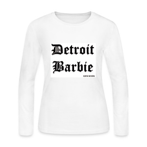 WHITE BARBIE BLACK PRINT LS - Women's Long Sleeve Jersey T-Shirt