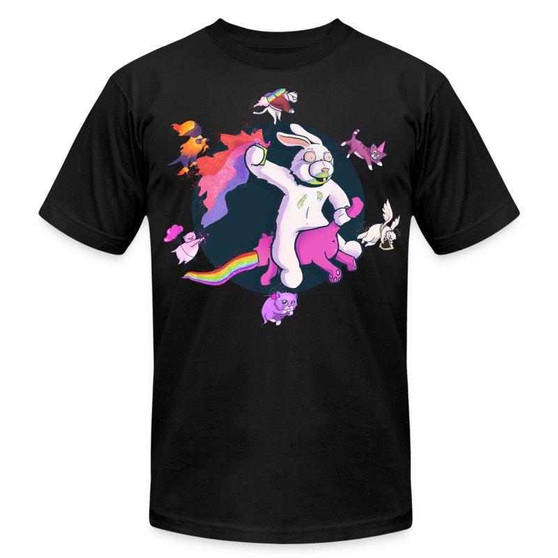 Fun Bunny Ride w/Kittens - Men's Fine Jersey T-Shirt