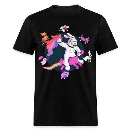 Fun Bunny Ride w/Kittens - Men's T-Shirt