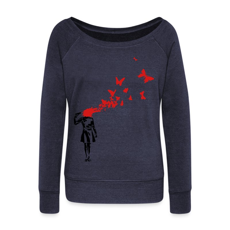 Banksy banksy butterlies - Women's Wideneck Sweatshirt