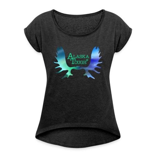 Aurora Northern Lights T-Shirt for Women - Women's Roll Cuff T-Shirt