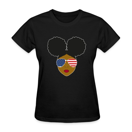 Afro Puffs Patriotic Sunglasses - Women's T-Shirt