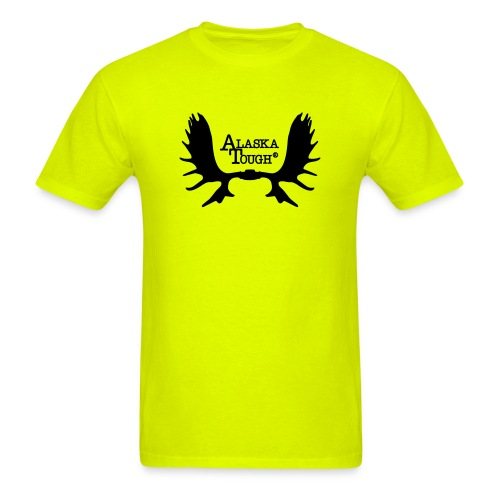 Moose T-Shirt with Antlers Safety Green  - Men's T-Shirt