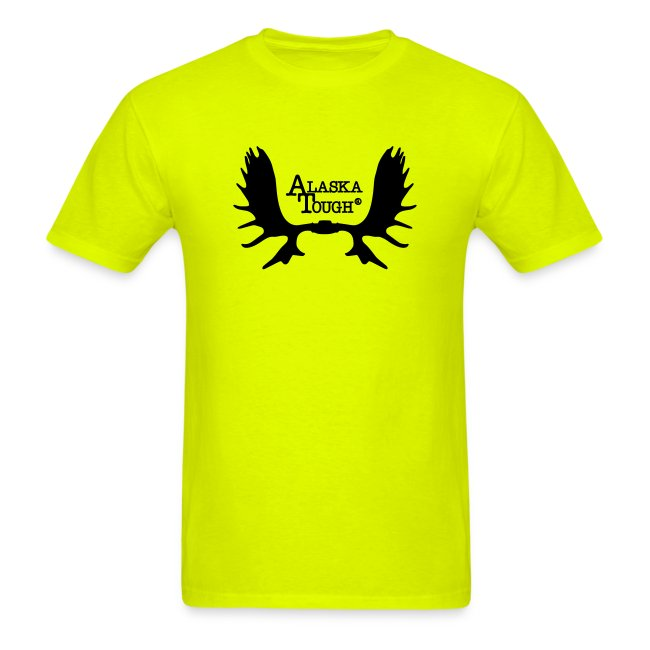Moose T-Shirt with Antlers Safety Green