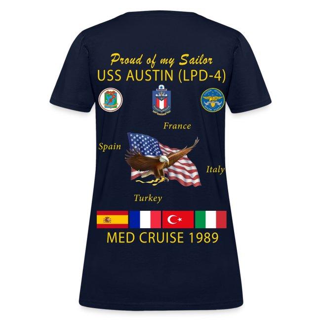 USS AUSTIN 1989 WOMENS CRUISE T-SHIRT - FAMILY
