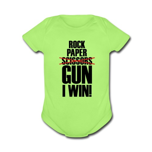 Rock Paper No Scissors Gun I Win - Short Sleeve Baby Bodysuit