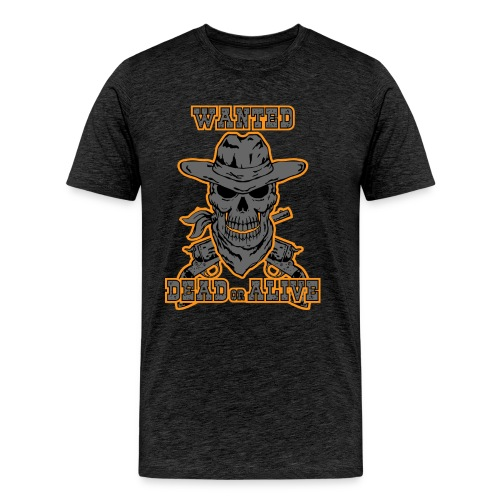 skull cowboy wanted t-shirt - Men's Premium T-Shirt