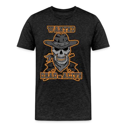 skull cowboy wanted t-shirt - Men's Premium T-Shirt