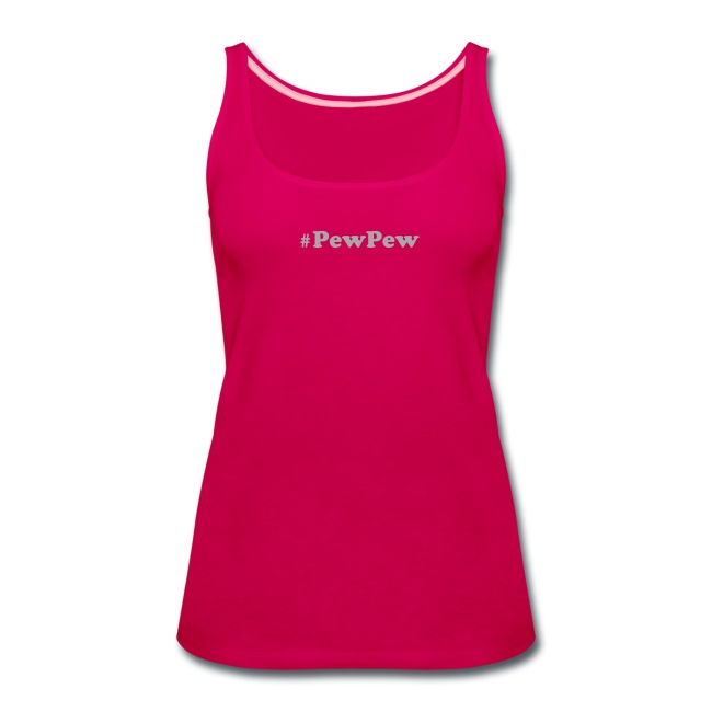Women's Premium Tank Top with SPARKLY SILVER logo - #PewPew
