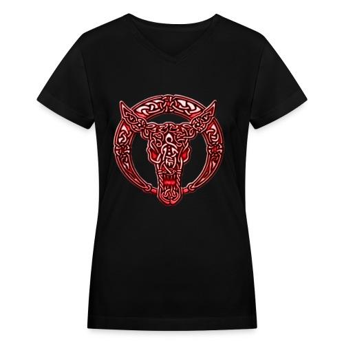 Red Celtic Bull Celtic Knots Shirt - Women's V-Neck T-Shirt