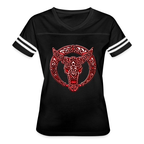 Red Celtic Bull Celtic Knots Shirt - Women's Vintage Sport T-Shirt