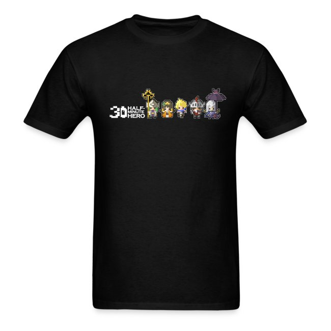 Half Minute Hero row of main characters with logo Men's T-shirt