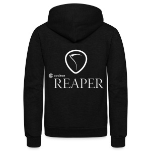 REAPER Classic - Fleece Zip Hoodie - White Print - Unisex Fleece Zip Hoodie by American Apparel