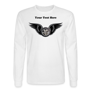 Men's LS Hanes Tee- Front-HwingTxt - Men's Long Sleeve T-Shirt