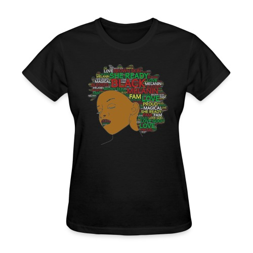 She Ready Words in Afro Art - Women's T-Shirt