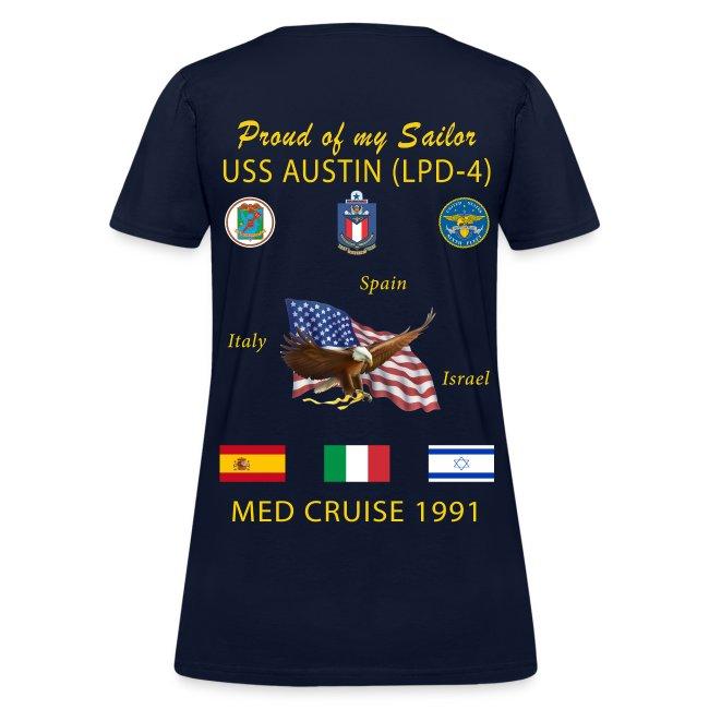 USS AUSTIN 1991 WOMENS CRUISE SHIRT - FAMILY