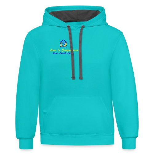 Love & Compassion Pull Over Sweat Hoodie - Contrast Hoodie
