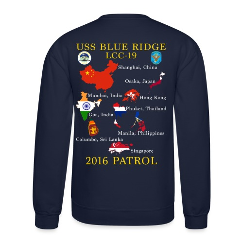 USS BLUE RIDGE LCC-19 2016 SPRING PATROL SWEATSHIRT  (MAP) - Crewneck Sweatshirt