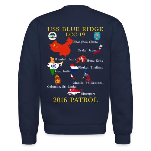 USS BLUE RIDGE LCC-19 2016 SPRING PATROL SWEATSHIRT  (MAP) - Crewneck Sweatshirt