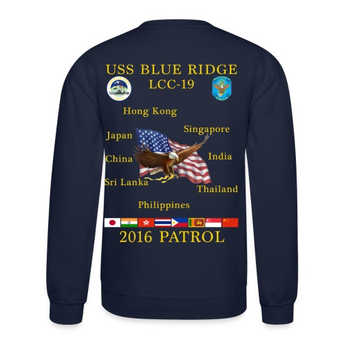 USS BLUE RIDGE LCC-19 2016 SPRING PATROL SWEATSHIRT - Crewneck Sweatshirt