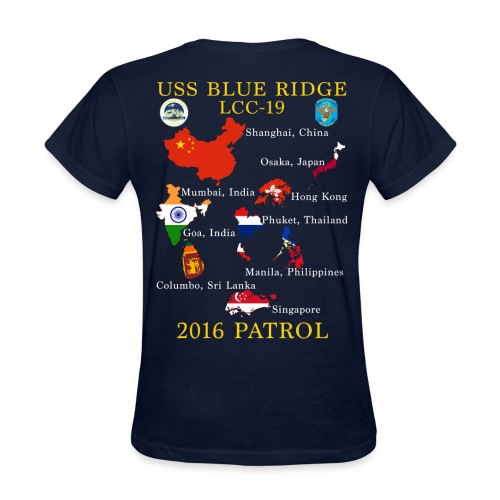 USS BLUE RIDGE LCC-19 2016 SPRING PATROL WOMENS T-SHIRT  (MAP) - Women's T-Shirt