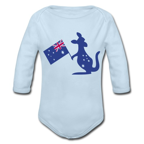 Australian animal kangaroo Baby Long Sleeve One Piece - Organic Long Sleeve Baby Bodysuit