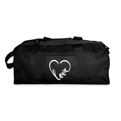Large travel tote with love heart symbol - Duffel Bag