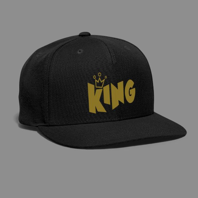 0553b4e862b King Typography With Crown Black Color Design Printed Baseball Cap