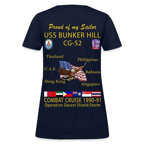 USS BUNKER HILL CG-52 1990-91 WOMENS CRUISE SHIRT - FAMILY - Women's T-Shirt