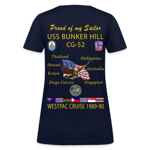 USS BUNKER HILL CG-52 1989-90 WOMENS CRUISE SHIRT - FAMILY - Women's T-Shirt