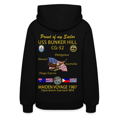 USS BUNKER HILL CG-52 1987 WOMENS CRUISE HOODIE - FAMILY - Women's Hoodie