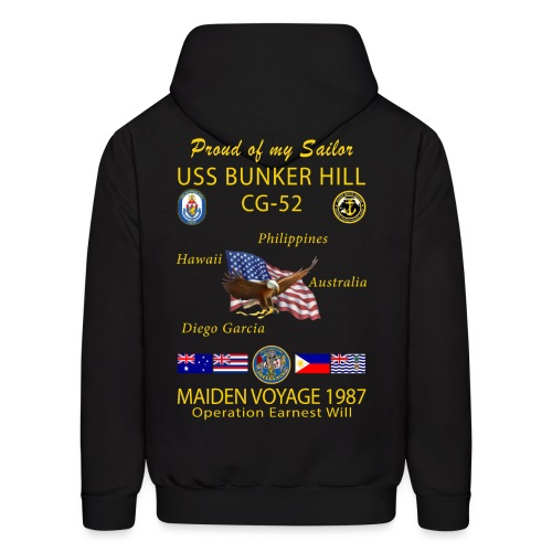 USS BUNKER HILL CG-52 1987 CRUISE HOODIE - FAMILY - Men's Hoodie
