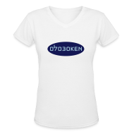 T-Shirts ~ Women's V-Neck T-Shirt ~ Hoboken 07030 Blue