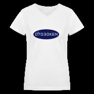 Women's T-Shirts ~ Women's V-Neck T-Shirt ~ Hoboken 07030 Blue
