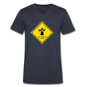 You Cannot Pass warning sign - Men's V-Neck T-Shirt by Canvas