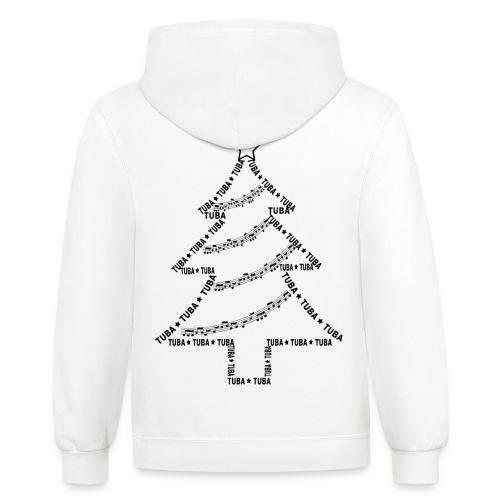 Tuba Text Christmas Tree - Contrast Hoodie