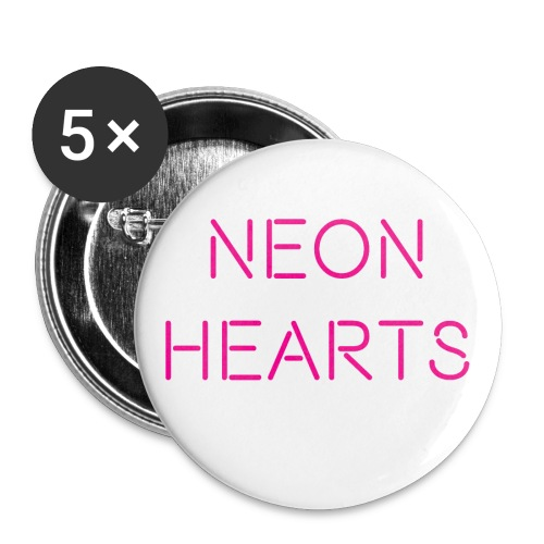 5 pack of 1 Buttons w/ Neon Hearts Logo - Small Buttons