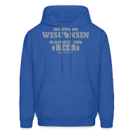 Hoodies ~ Men's Hoodie ~ Born in Wisconsin - Metallic Silver