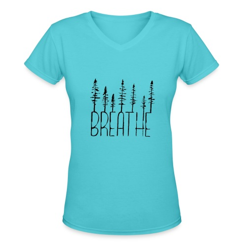 Women's Vneck Breathe Trees Black - Women's V-Neck T-Shirt