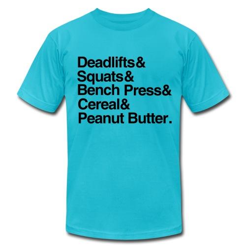 Deadlifts Squats Bench Press Cereal Peanut Butter - Men's Fine Jersey T-Shirt