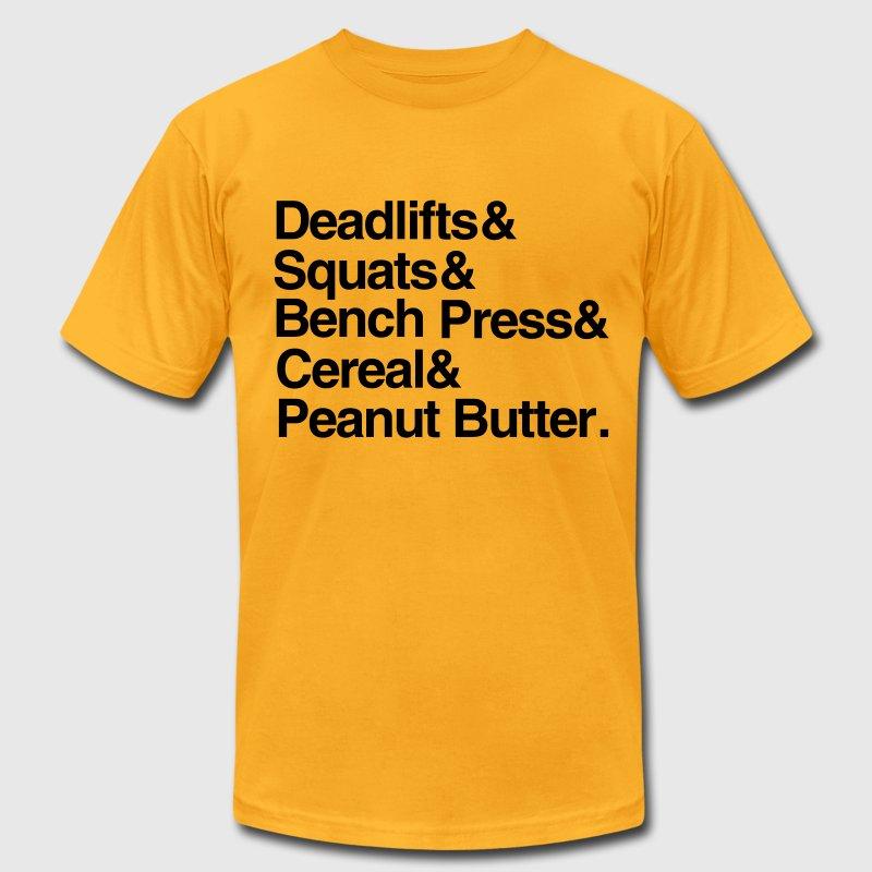 deadlifts squats bench press cereal peanut butter t shirt