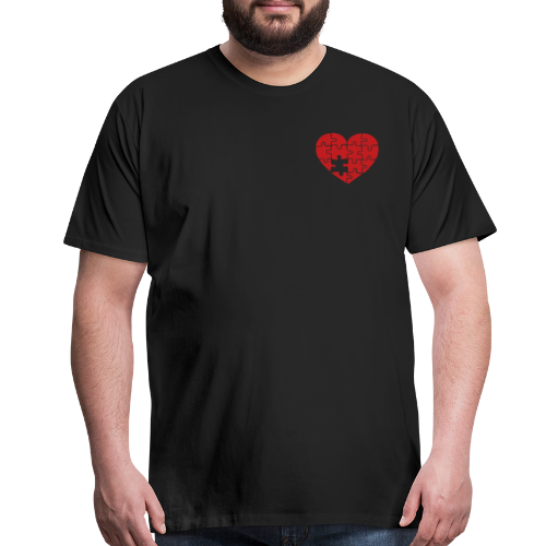 Men's Black/Red Pocket Logo Heart T-Shirt - Men's Premium T-Shirt