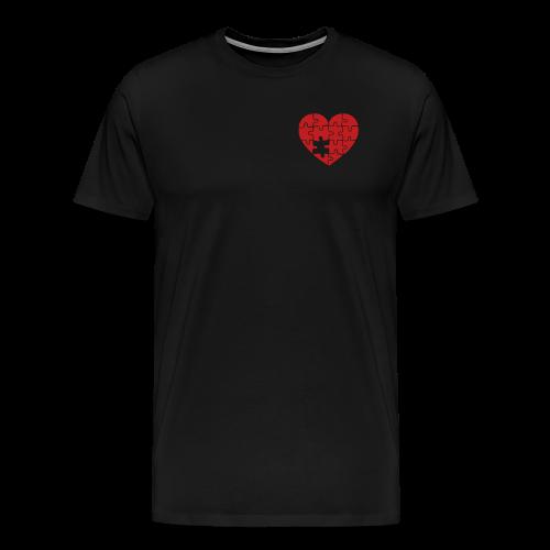 Men's Black/Red Pocket Logo Heart T-Shirt - Men's Premium T-Shirt