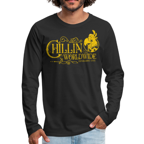 Vintage Men's Long Sleeve T-Shirt v.1 (YELLOW PRINT) - Men's Premium Long Sleeve T-Shirt