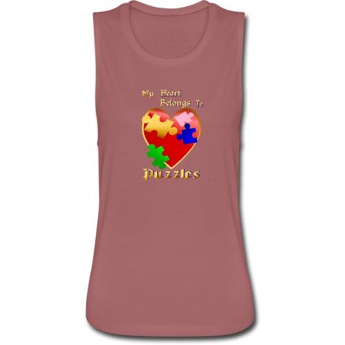 My Heart Belongs To Puzzles - Women's Flowy Muscle Tank by Bella