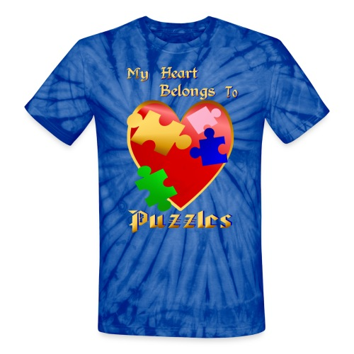 My Heart Belongs To Puzzles - Unisex Tie Dye T-Shirt