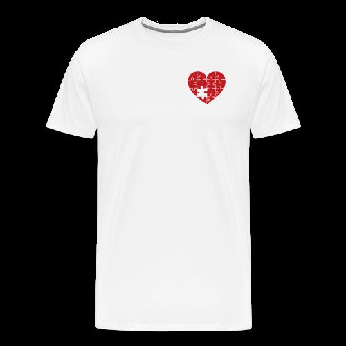 Men's White/Red Pocket Logo Heart T-Shirt - Men's Premium T-Shirt