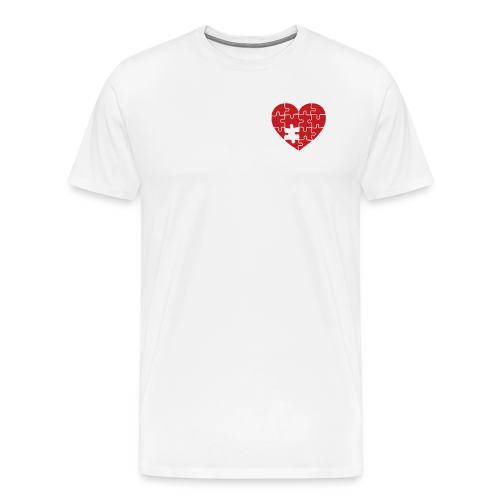 Men's White/Red Pocket Logo Heart T-Shirt - Men's Premium T-Shirt